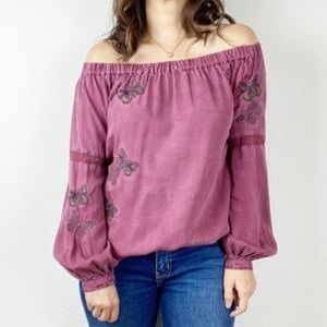 Embroidered Butterfly Blouse